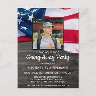 Military Going Away Party Patriotic American Flag  Postcard