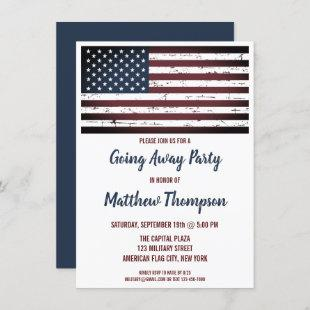 Military Going Away Party USA American Flag Invitation