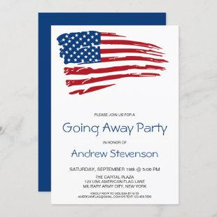 Military Going Away Party USA American Flag Party Invitation