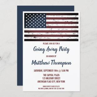 Military Soldier Going Away Party American Flag Invitation