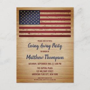 Military Soldier Going Away Patriotic America Flag Announcement Postcard
