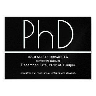 Minimalist Black Virtual PhD Graduation Party Invitation