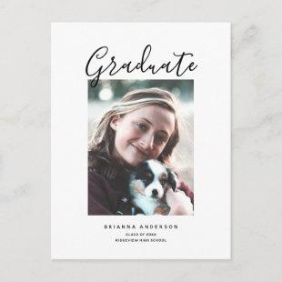 Minimalist Chic Brush Script Photo Graduation Announcement Postcard