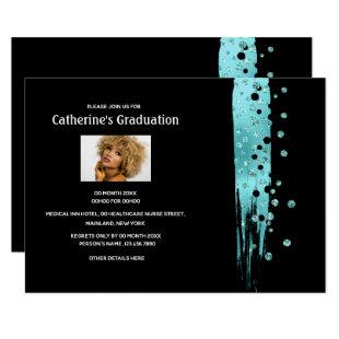 Minimalist glitter confetti blue black brush photo invitation