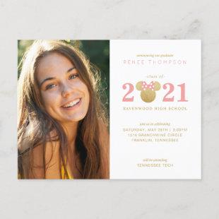 Minnie Mouse Gold and Pink Graduation Announcment Announcement Postcard