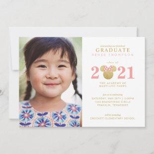 Minnie Mouse Gold and Pink Preschool Graduation Announcement