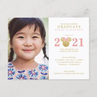 Minnie Mouse Gold and Pink Preschool Graduation Announcement Postcard