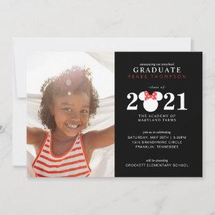Minnie Mouse Red & Black Preschool Graduation Announcement