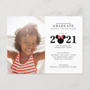 Minnie Mouse Red & Black Preschool Graduation Announcement Postcard