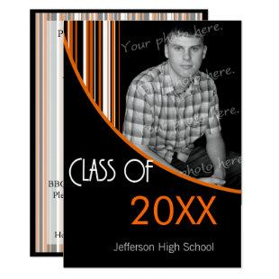 Mod Stripes Graduation Party Invite Orange & Black