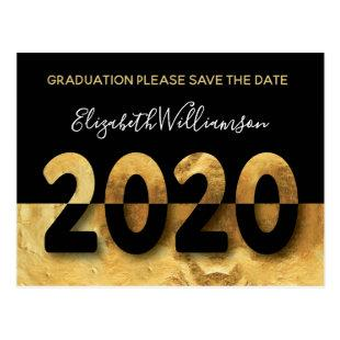 Modern 2020 Graduation Save The Date Gold Postcard