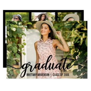 Modern 4 Photo Graduation Party Invitation