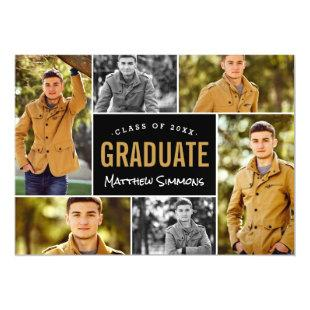 Modern 6 Photo Collage Graduation Announcements