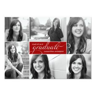 Modern 6 Photo Script Graduation Invite - Red