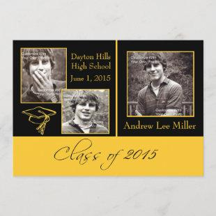 Modern Black and Gold Graduation Announcement