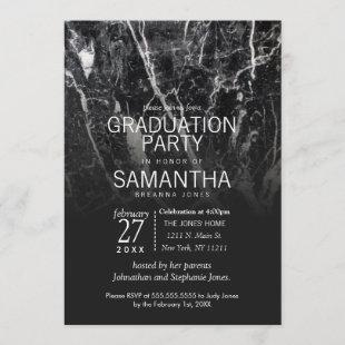Modern Black and White Marble Graduation Party Invitation