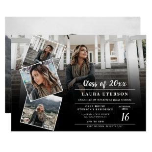 Modern black and white minimalist photo graduation invitation