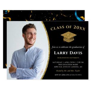 Modern Black & Gold Confetti Photo Graduation Invitation