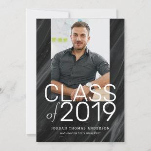 Modern Black Marble Stacked Text Graduation Photo Announcement