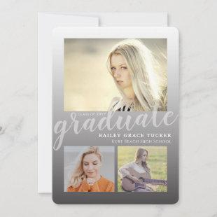 Modern Black Ombre 4-Photo Collage Graduation Announcement