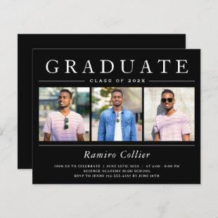 Modern Black White 3 Photo Graduation Invitations