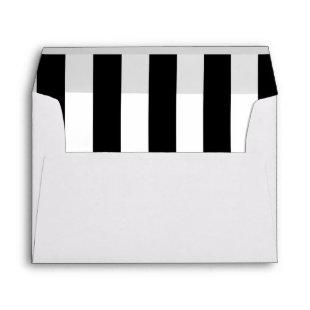 Modern Black White Stripes for 5x7 Invitation Card Envelope