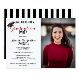 Modern Black & White Stripes Graduation Invitation
