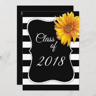 Modern BlackWhite Stripe Sunflower 2018 Graduation Invitation