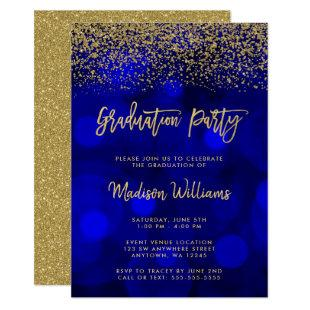 Modern Blue Faux Gold Glitter Graduation Party Invitation