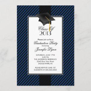 Modern Blue Stripe Graduation Party Invitation