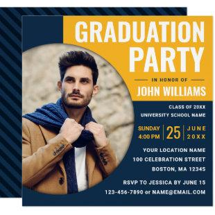 Modern Blue Yellow | Photo Graduation Party Invitation