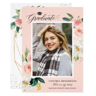 Modern Blush Pink Floral Photo Graduation Party Invitation