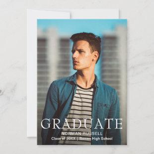 Modern Bold Navy Blue and White Photo Graduation Announcement