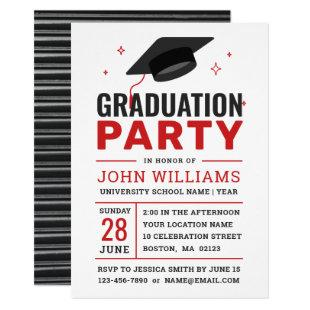 Modern Bold Red Black White Photo Graduation Party Invitation