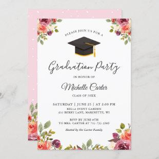 Modern Botanical Floral Girl Grad Graduation Party Invitation