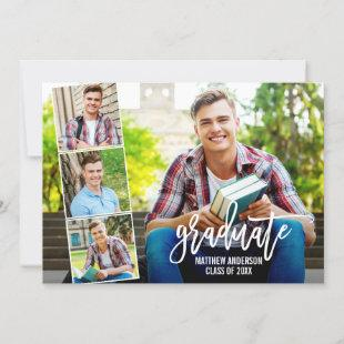 Modern Brush Script 4 Photo Collage Graduation Announcement