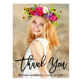 Modern Brush Script Graduation Thank You Postcard