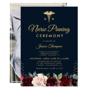Modern burgundy navy floral Nurse pinning ceremony Invitation