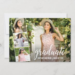 Modern Calligraphy 4 Photo Collage Graduation Announcement