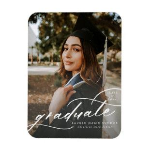 Modern Calligraphy Photo Graduation Magnet