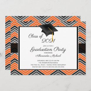 Modern Chevron Graduate Tassel Graduation Party In Invitation