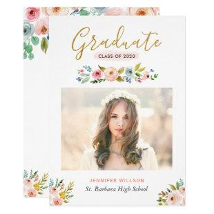 Modern Chic Floral Gold Graduate Graduation Party Invitation