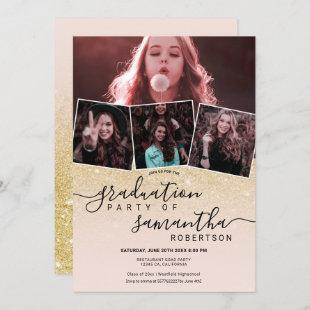 Modern chic gold glitter script 4 photo graduation invitation