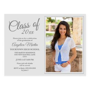 Modern Chic White Graduation Photo Announcement Postcard