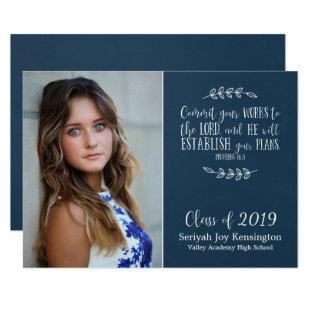 Modern Christian Bible Verse Graduation Photo Invitation
