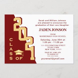 Modern Class of 2021 Golden Red Graduation Party Invitation