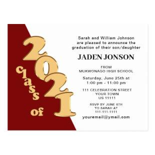 Modern class of 2021 Graduation Party Invitation Postcard