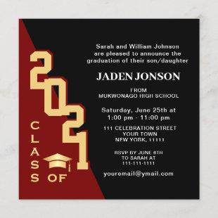 Modern Class of 2021 Red Black Graduation Party