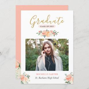 Modern Clean Coral Peach Floral Photo Graduation Announcement