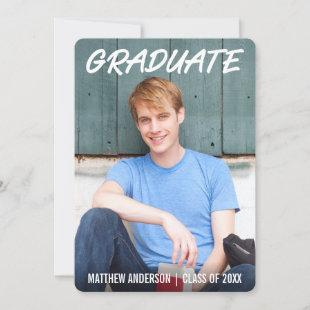Modern Cool Graduation Announcement Photo WTR